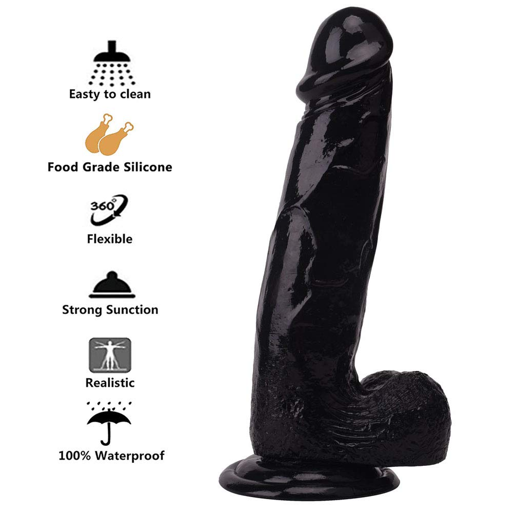 FYFNC. Realistic Silicone-Dǐldo Soft Flexible Toy with Strong Suction Cup for Women and Men - Black - Medium Size by FYFNC.