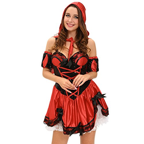 [BYY 4pcs Miss Red Riding Hood Costume(Size,M)] (Images Of Little Red Riding Hood Costume)