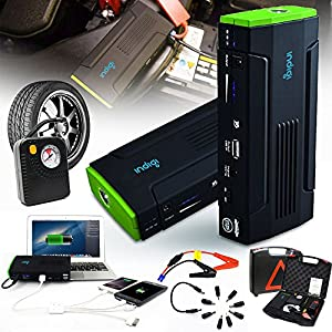 Indigi Most Powerful Portable Car Jump Starter Power Bank Flat Tire Compressor Air Pump Station - ideal choice for long driving, camping, hiking, biking, traveling etc