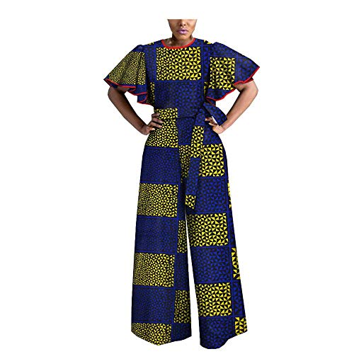 - African Print Women Casual Jumpsuit Tailor Made Butterfly Sleeve Ankle Length Wide Leg 100% Batik Cotton Made AA1829009 294-3J M