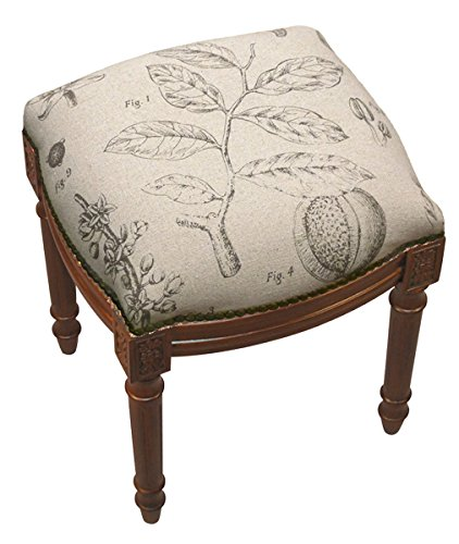SketchONE Linen Upholstered Vanity Stool, Plant Study by SketchONE