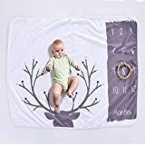 XYTMY Personalized Baby Monthly Milestone Blanket Photography Prop for Newborn Infant& Toddlers, Boy and Girl Growth Memory Blankets, New Mom Shower Photo Gift