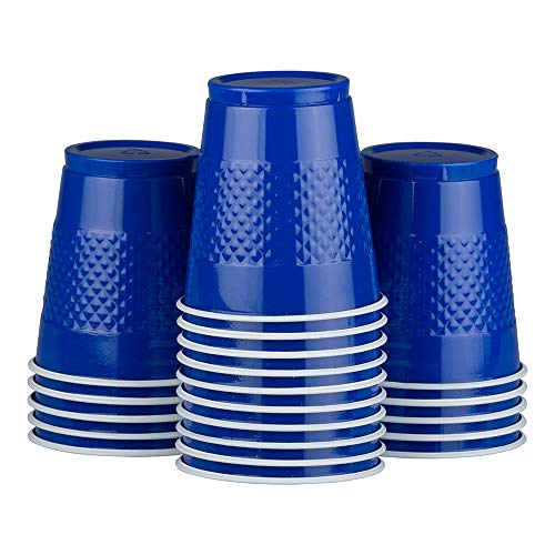 JAM PAPER Plastic Party Cups - 12 oz - Blue - 20 Glasses/Pack