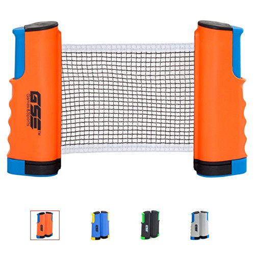 GSE Games & Sports Expert Anywhere Retractable Table Tennis Net and Post. Adjustable Replacement Ping Pong Net (4 Colors) (Orange)