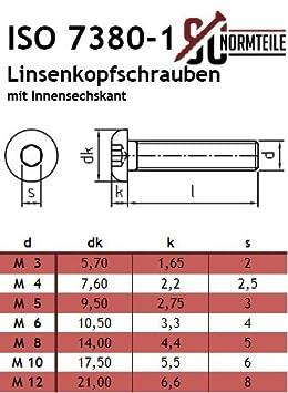 Vollgewinde 10 St/ück rostfreier Edelstahl A2 V2A - ISO 7380-1 Linsenkopfschrauben mit Innensechskant ISK SC7380-1 - M6x70 - Flachkopfschrauben