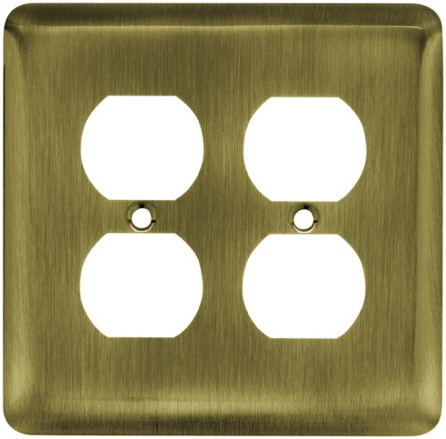 Franklin Brass 64068 Stamped Steel Round Double Duplex Outlet Wall Plate, Antique Brass ()