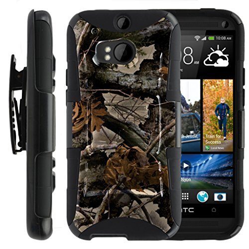 TurtleArmor | HTC One M8 Case | HTC One Case [Hyper Shock] Hybrid Dual Layer Armor Holster Belt Clip Case Kickstand - Tree Leaves Camouflage (Htc One M8 Otter Box Clip)