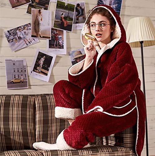 Batas Con De Conjunto Ropa Calidad Camisones Señoras Capucha Mujer Pijamas Terciopelo Coral Caliente Noche Invierno Dormir Gruesa Olliuge Rojo Cardigan Franela Mantener Más aIqFfa