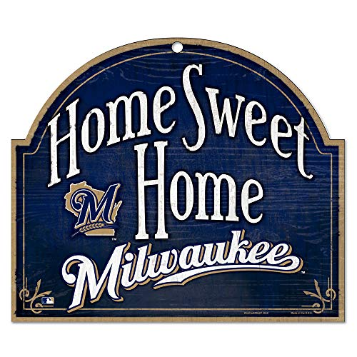 "MLB Milwaukee Brewers 11-by-9 Wood ""Home Sweet Home"" Sign"