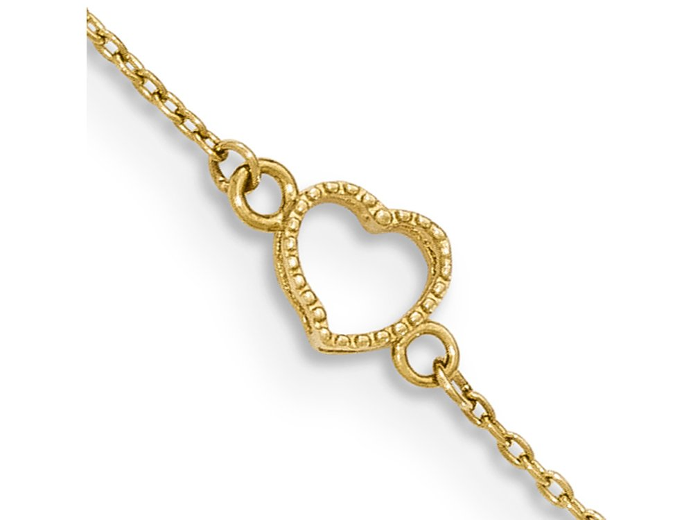 Finejewelers 10 Inch 14k Gold Textured and Polished Heart Anklet