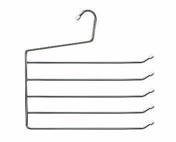 Cano 104502 - set de 3 Perchas para 5 Pantalones, Metal, Cromado