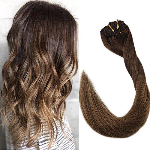 "Full Shine 16"" 7Pcs 100 Gram Full Head Remy Hair Extensions Clip in Hair Extensions Ombre Clip Hair Extension Color #3 Dark Brown Fading to Color #6 Medium Brown"