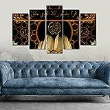 bedibuy 5 teiliges Wandbild MDF Allah Mohammad Koran Islamisches Symbol b-4016 Bild - 5 Parca MDF Tablo - Allah Muhammed Kuran Dini Motiv