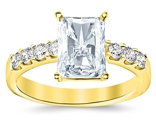 t Radiant Cut/Shape 14K Yellow Gold Classic Prong Set Diamond Engagement Ring with a 0.51 Carat, F Color, VVS1-VVS2 Internally Flawless Clarity Center Stone (Radiant Cut Diamond Solitaire Ring)
