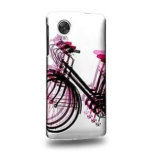 Case88 Premium Designs Art Psychedelic Bicycle Pink Carcasa/Funda dura para el LG Nexus 5