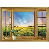 SCOCICI Window Mural Wall Sticker/Farm House Decor,Rainbow in Sky Over Wheat Field at Sunset Natural Paradise Rural Life Illustration,Green Yellow/Wall Sticker Mural