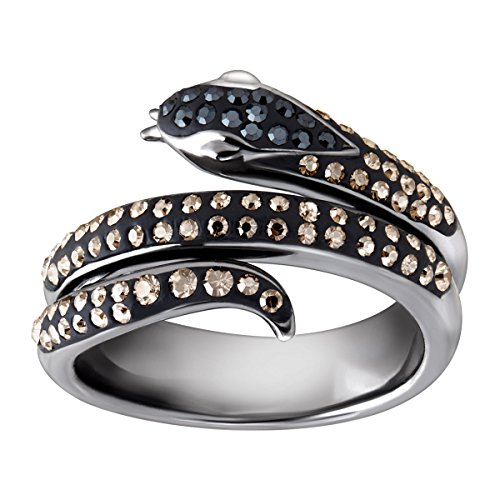Crystaluxe Snake Ring with Black & Silver Mist Swarovski Crystals in Black Rhodium-Plated Sterling Silver