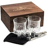 LEEBS Premium Whiskey Stones Gift Set - 2 Large Whiskey Glasses, 8 Granite Scotch Chilling Rocks, Tongs, Velvet Pouch in Elegant Wooden Gift Box Packaging