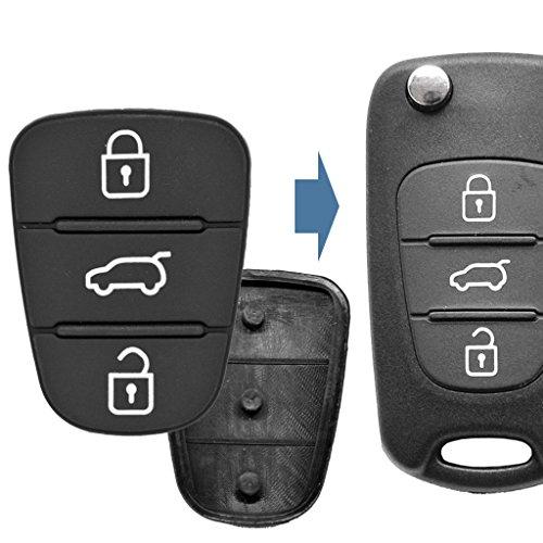 2 x afstandsbediening voor autosleutels, toetsenbord, 3 knoppen, compatibel met Hyundai/Kia
