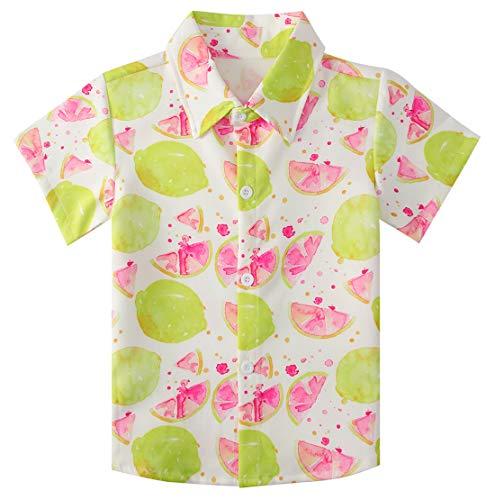 RAISEVERN Big Boy's Dress Shirt Cute Floral Button Down Short Sleeve Cartoon Tropical Yellow Lemon Top Kids Cool Hawaiian T-Shirt(7-8T) ()