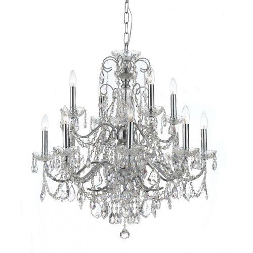 Crystorama Lighting 3228-CH-CL-MWP Chandelier with Hand Polished Crystals, Polished Chrome