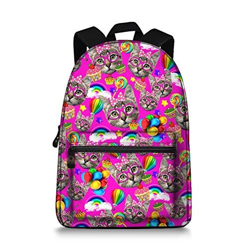 Price comparison product image Cat Animal Canvas Laptop Backpack Teens Girls Shoulder Bag Knapsack Satchel