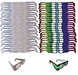 Fireworks Diffraction Glasses -25 Pair Rainbow Hearts (Plain White Frames) plus 25 Pair Starbursts (Rave Waves Frames) - 50 pack total - for Fireworks, Holiday Lights, Wedding Receptions, Rave Events