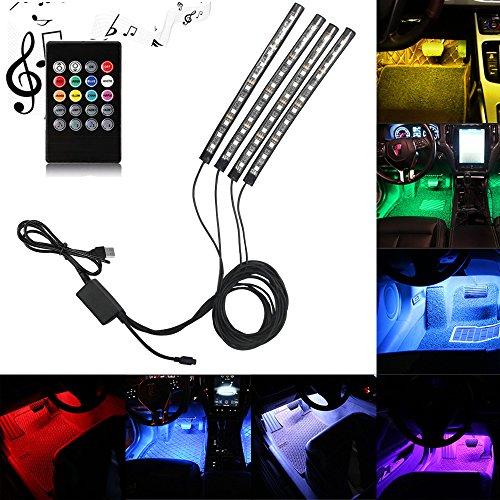 car led strip light dland multicolor music car interior lights with 4pcs 48 leds music led. Black Bedroom Furniture Sets. Home Design Ideas
