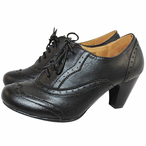 Nature Breeze/Bella Marie Bella-01 Women Lace-up Oxford Shoe (8, Black PU)