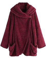 FMYONF Damestrui met capuchon, teddy fleece, pullover, hoodie, herfst, winter, warm, flanel, knopen, bovenstuk, lange mouwen, effen, casual, hoodie, sweatshirt, gebreide jas