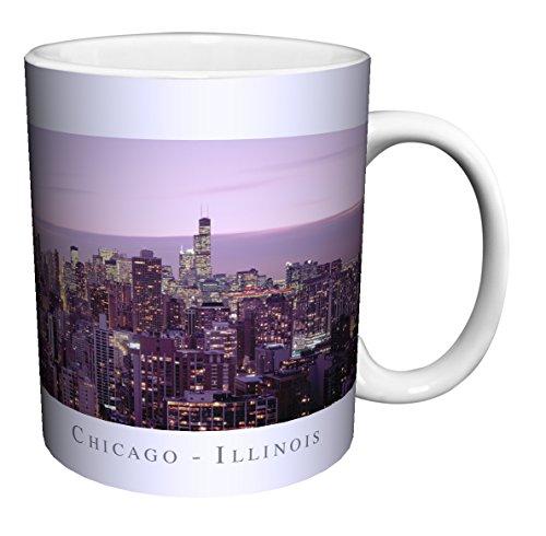 Chicago Illinois Purple Skyline City Photography Ceramic Gift Coffee (Tea, Cocoa) 11 Oz. Mug