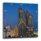 3dRose Danita Delimont - Cities - UAE, Abu Dhabi. Cityscape seen from Corniche Road East - 10x10 Wall Clock (dpp_277128_1)