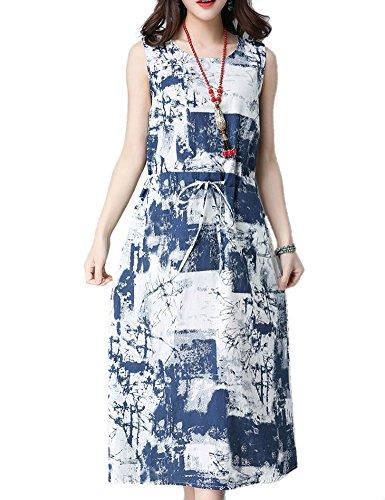 Cystyle - Vestido - trapecio - Sin mangas - para mujer Azul