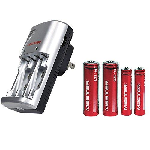 Master- Cargador de bateria AA y AAA con puerto USB para cargar celulares. incluye 2 baterías AA y 2 baterías AAA
