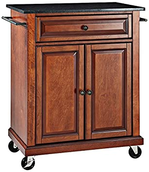 Crosley Furniture Cuisine Kitchen Island With Solid Black Granite Top Classic Cherry