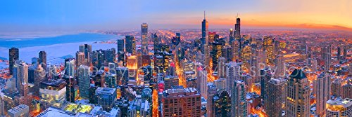 Chicago Skyline DUSK PHOTO PRINT UNFRAMED DUSK COLOR 11.75 inches x 36 inches Hancock Observatory Photographic Panorama Poster Picture Standard Size