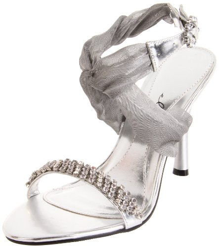 Ellie Shoes Women's 457-Paula Sandal,Silver,8 M - Wrap Shoes Ellie
