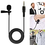 856store Waterproof 3.5mm Clip-on Lapel Microphone Hands Free Wired Condenser Mini Lavalier Mic for iPhone, iPad, iPod, Mp3 Players, Samsung Etc