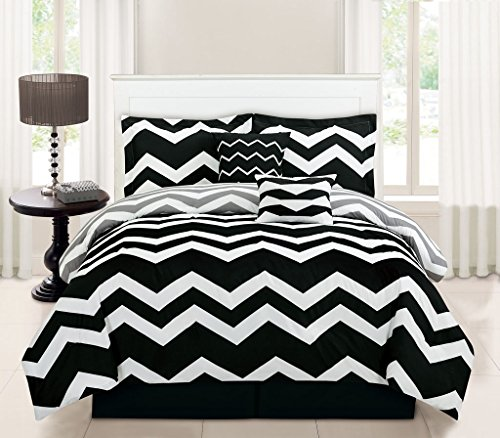 10 Piece Full Chevron Black Bed in a Bag w/600TC Cotton Sheet (Stripe 10 Piece Bedding Ensemble)