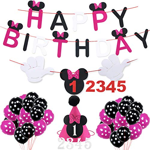Minnie Mouse Happy Birthday Decorations Pack, Minnie Mouse Cute Baby Birthday Hat Happy Birthday Banner for Baby Shower Baby Birthday Party Supplies -