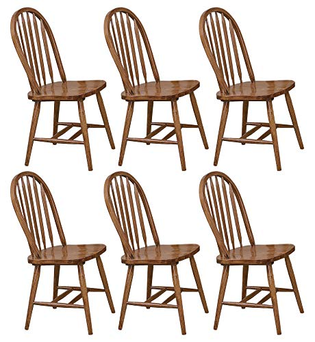The Furniture Cove 6 Dark Oak Stain Kitchen Dining Arrow Back Chairs Set ()