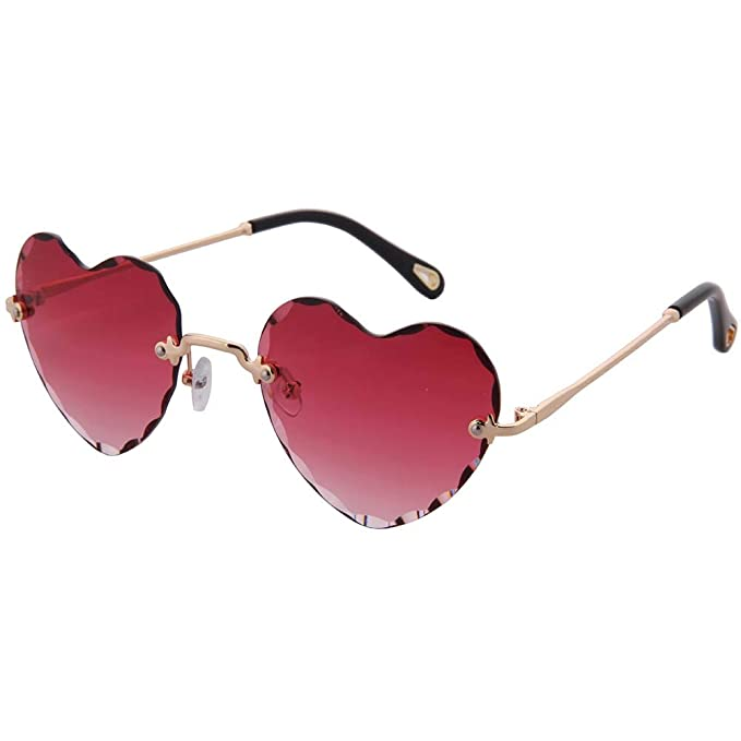 OGOBVCK Corazon en forma de gafas de sol de Moda Mujer Chica ...