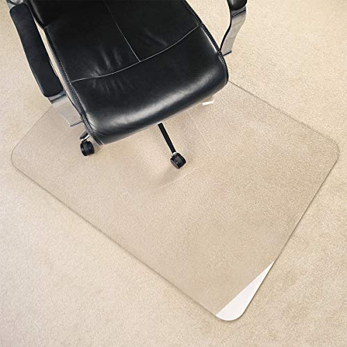 """[Upgrade Version] Crystal Clear 1/5 Inch Thick 47"""" x 35"""" Heavy Duty Durable Chair Mat, Can Be Used On Carpet Or Hard Floor"""