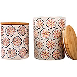 Kitchen Canister Set 2 Stoneware Jars for Tea, Coffee, Sugar, Vintage Embossed Floral Pattern, Gift for Women