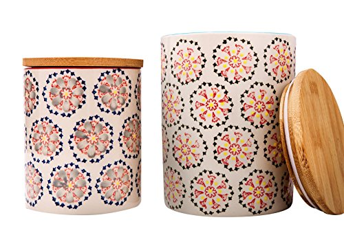 Kitchen Canister Set 2 Stoneware Jars for Tea, Coffee, Sugar, Vintage Embossed Floral Pattern, Gift for Women -