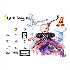 Baby Monthly Milestone Photo Blanket for Baby Pictures | Baby Shower Gift 40″×40″
