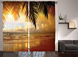 Ambesonne Ocean Decor Curtains, Sunset On The Beach Of Caribbean Sea Coast, Window Drapes 2 Panel Set For Living Room Bedroom, 108W X 90L Inches Review