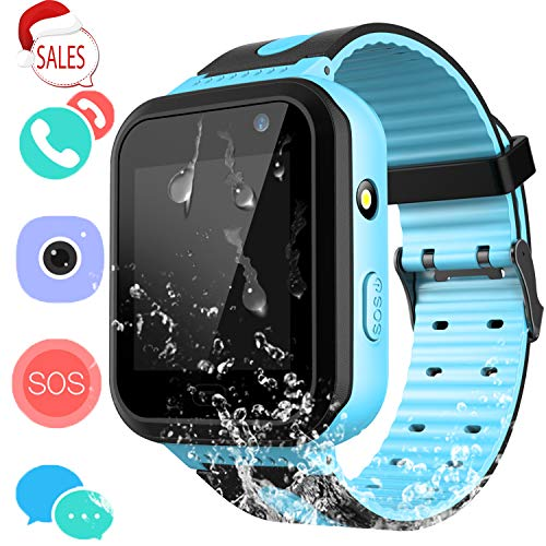 Kids Waterproof Smart Watch Phone - Children Water Resistant GPS Tracker Watch with Call Talkie Walkie Games Sports Wristband for Boys Girls (02 S7 Blue) (Cell Watch Verizon Phone)
