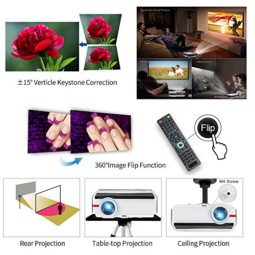 CAIWEI Bluetooth Projector Android, 4200 Lumens Wireless