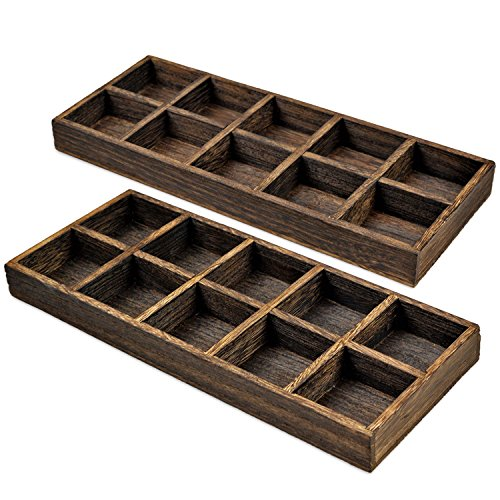 ic Wooden Serving Trays Cactus Planter Crafts Rectangle Catchall Plates Saucer Slotted Square Organizer Unfinished Multi-Purpose Drawer Divider for Essential Oil Nail Polish 2 Sets (Drawer Plate)